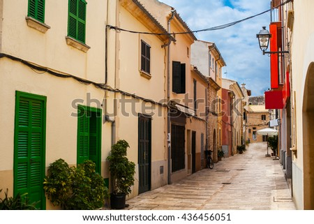Alcudia Old Town in Majorca Mallorca. Green doors
