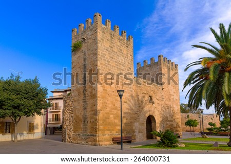 Alcudia Old Town in Majorca Porta des Moll Mallorca Balearic island of Spain - stock photo