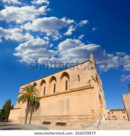 Alcudia Old Town Sant Jaume church in Majorca Mallorca Balearic island of Spain - stock photo
