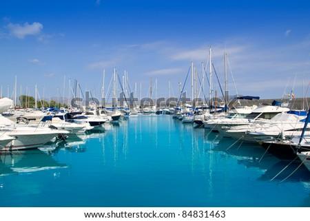 Alcudia Port Bonaire Marina in North Majorca in Mallorca Balearic island of Spain - stock photo