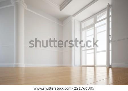 Alder hardwood floor in an empty room of an apartment - stock photo