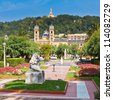 Alderdi-Eder Gardens in front of the City Hall building (former casino built in 1887) in San Sebastian (Donostia), Spain - stock photo