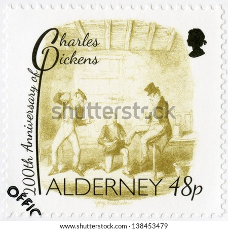 ALDERNEY - CIRCA 2012: A stamp printed in Alderney shows illustrations from Oliver Twist by George Cruikshank (1792-1878), 200th anniversary of Charles Dickens(1812-1870), circa 2012