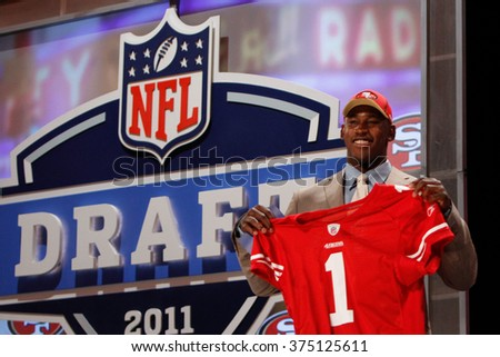 Aldon Smith is introduced as the seventh pick to the San Francisco 49ers at the NFL Draft 2011 at Radio City Music Hall in New York, NY. - stock photo