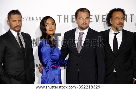 Alejandro Gonzalez Inarritu, Leonardo DiCaprio, Tom Hardy and Grace Dove at the Los Angeles premiere of 'The Revenant' held at the TCL Chinese Theatre in Hollywood, USA on December 16, 2015. - stock photo