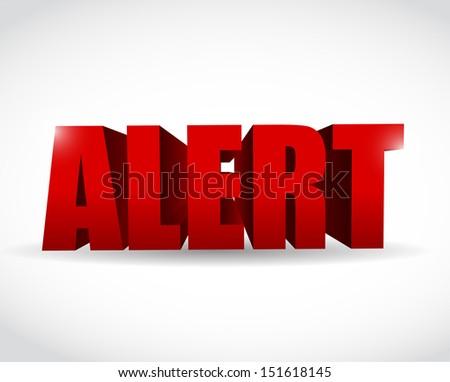alert 3d text sign illustration design over a white background - stock photo