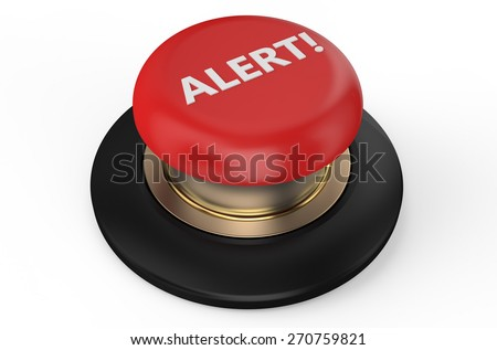 alert red button isolated on white background