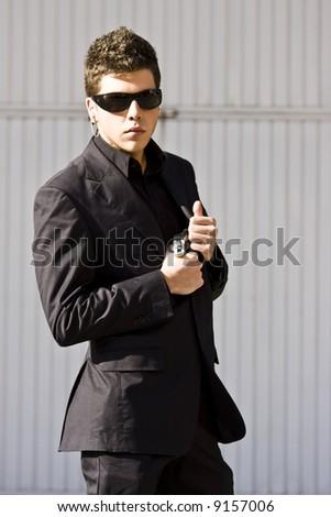 Alertness secret agent ready for action - stock photo