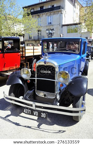 ALES, FRANCE - APRIL 11: old Citroen car from the 1920s photographed vintage car rally Town Hall Square in the town of Ales, April 11, 2015. - stock photo