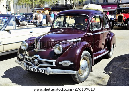 ALES, FRANCE - APRIL 11: Panhard Dyna from 1953 and manufactured entirely in aluminum photographed vintage car rally Town Hall Square in the town of Ales, in the Gard department, April 11, 2015.