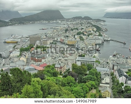 Alesund, Norway. Beautiful aerial city view in summer season. - stock photo