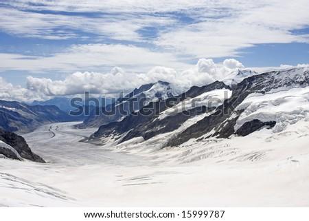 Aletsch Glacier in Swiss Alps, Switzerland - stock photo