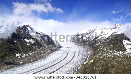Aletsch glacier, the largest gracier in Alps, UNESCO herritage, Switzerland, Europe - stock photo