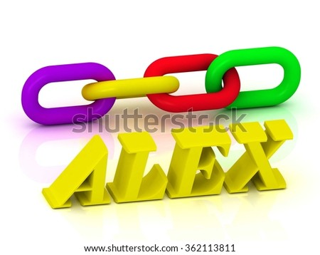 ALEX- Name and Family of bright yellow letters and chain of green, yellow, red section on white background