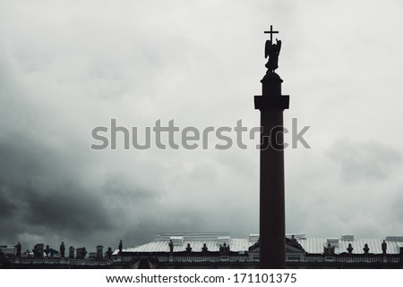 Alexander Column, is the focal point of Palace Square in St.Petersburg, Russia