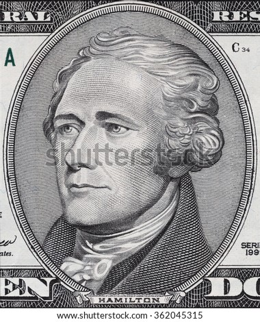 Alexander Hamilton face on ten dollar bill macro, 10 usd, united states money closeup