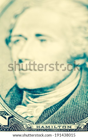 Alexander Hamilton on ten dollar bill - stock photo