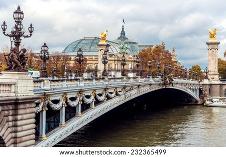 Alexander III Bridge on river Seine. Paris - stock photo