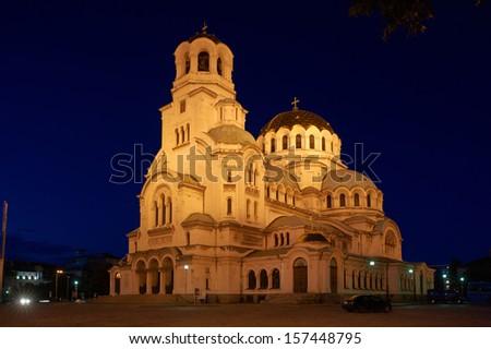 Alexander Nevski cathedral at night, Sofia, Bulgaria - stock photo