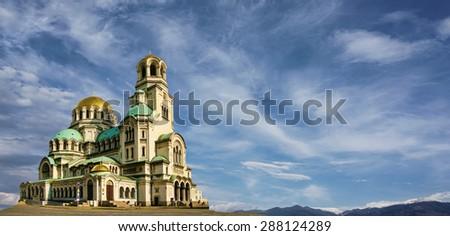Alexander Nevski church in Sofia city, Bulgaria - stock photo