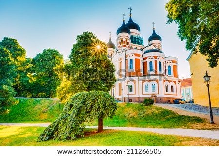 Alexander Nevsky Cathedral, An Orthodox Cathedral Church In The Tallinn Old Town, Estonia. Summer Time - stock photo