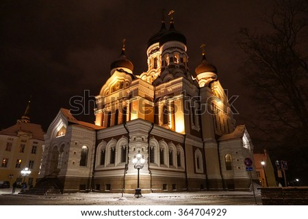 Alexander Nevsky Cathedral at night, an orthodox cathedral in the Tallinn Old Town, Estonia.  - stock photo