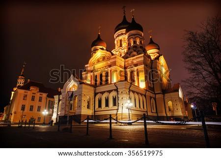 Alexander Nevsky Cathedral in Tallinn, Estonia - stock photo