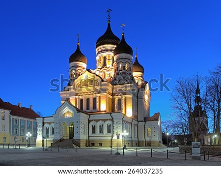 Alexander Nevsky Cathedral in the Tallinn Old Town in early morning, Estonia - stock photo