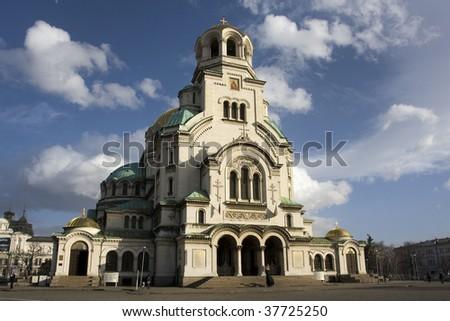 Alexander Nevsky Memorial Cathedral in Sofia, Bulgaria - stock photo