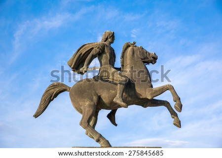 Alexander the Great statue on city square in Thessaloniki, Greece - stock photo