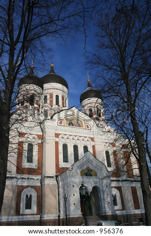 Alexandr Nevsky Cathedral Russian Orthodox Tallinn Estonia - stock photo