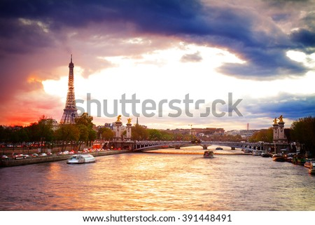Alexandre III Bridge and Eiffel tower at sunset ,  Paris, France, retro toned - stock photo