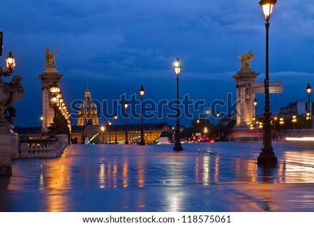 Alexandre III Bridge at night,  Paris, France - stock photo