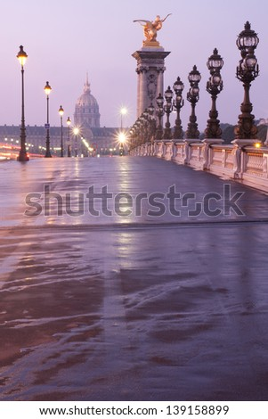 Alexandre III bridge in Paris at dawn - stock photo