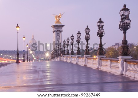 Alexandre III bridge in Paris at dawn