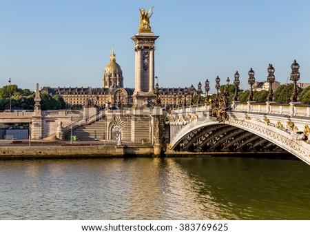 Alexandre III bridge in Paris,France - stock photo