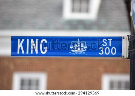 Alexandria king street blue sign detail - stock photo