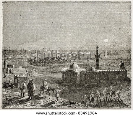 Alexandria nocturnal old view, Egypt. By unidentified author, published on Magasin Pittoresque, Paris, 1840 - stock photo