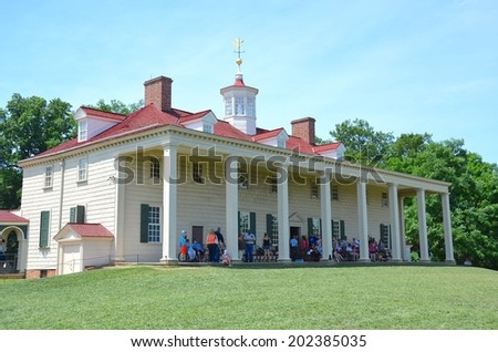 ALEXANDRIA,VA - JUNE 28: George Washington Mount Vernon on June 28, 2014 in Alexandria, VA USA. George Washington Mansion is visited by thousands of people every year. - stock photo