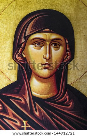 ALEXANDROUPOLIS, GREECE - OCTOBER 12: The Virgin Mary, a Byzantine iconography in the interior of Hagios Dimitrios, on October 12, 2012 in Alexandroupolis.