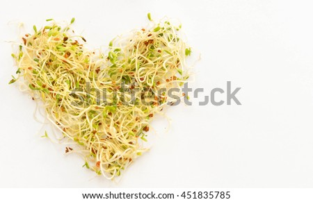 Alfalfa sprouts designed in heart shape isolated on white background. Copy space.