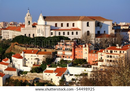 Alfama district of Lisbon, Portugal - stock photo