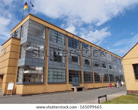 ALFELD, GERMANY - SEP 8: The Fagus Factory in Alfeld, Germany on September 8, 2013. The Fagus Factory is an shoe last factory and an important example of early modern architecture in the world. - stock photo