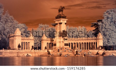Alfonso XII monument in the Retiro Park, Spain in infrared.