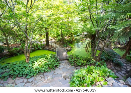 Alfred Nicholas Memorial Gardens on a warm summer's day near Melbourne, Victoria, Australia - stock photo