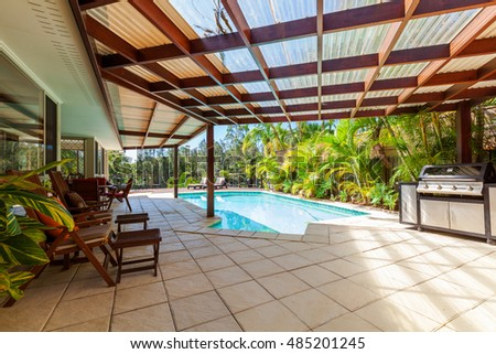 Alfresco backyard with pool