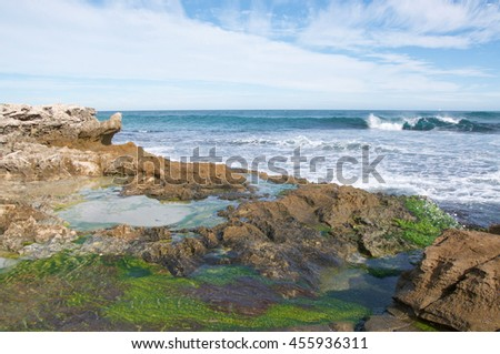 Algae covered limestone, tide pools and Indian Ocean waves at Penguin Island in Rockingham, Western Australia/Limestone Tide Pools/Penguin Island, Rockingham, Western Australia - stock photo