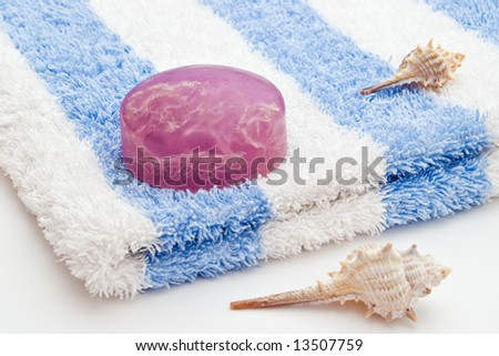 algae soap on white blue towel and sea-shells