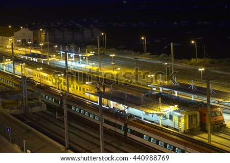 ALGARVE, PORTUGAL - June 06, 2016: Overview of the CP (Comboios de Portugal) train station in Faro at night. Infrastructures, travel and vacations. - stock photo