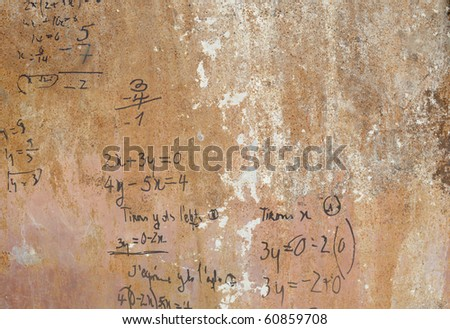 Algebra on a rusted metal. - stock photo